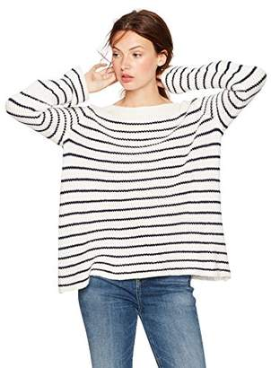 Cable Stitch Women's Boat Neck Striped Sweater