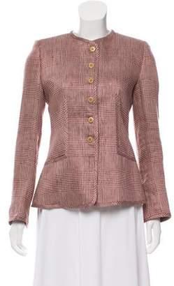 Armani Collezioni Linen-Blend Collarless Jacket