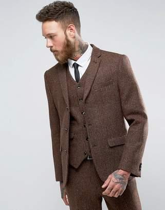 Asos DESIGN Slim Suit Jacket in Harris Tweed Check 100% Wool