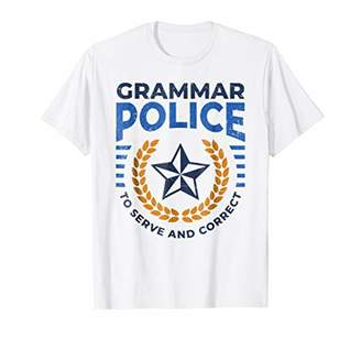 Grammar Police Tshirt Serve and Correct Badge Grammar Shirt