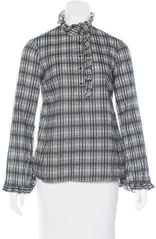 Tory BurchTory Burch Ruffle-Accented Long Sleeve Top