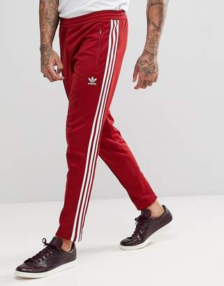 adidas adicolor Beckenbauer Joggers In Skinny Fit In Burgundy CW1270