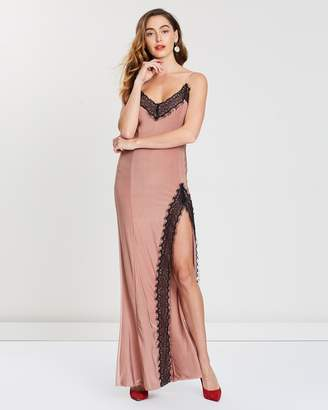 Missguided Eyelash Lace Trim Slip Maxi Dress