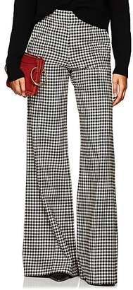 Derek Lam Women's Checked Wide-Leg Flared Trousers - Brown Multi