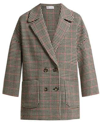 RED Valentino Houndstooth Check Wool Blend Coat - Womens - Red Multi