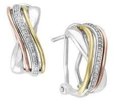 Effy Trio Three-Toned 0.14K Diamond Earrings