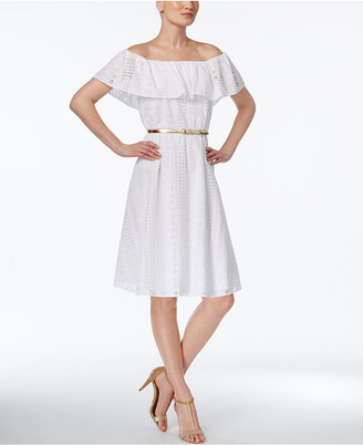 Calvin Klein Cotton Belted Off-The-Shoulder Dress $169 thestylecure.com