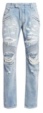 Balmain Distressed Ribbed Biker Jeans