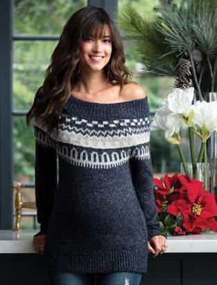 A Pea in the Pod Fairisle Off The Shoulder Maternity Sweater