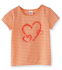 Little Miss Attitude Girls' 2T-6X Orange/White Striped Glitter Graphic Tee