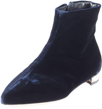 Miu Miu Velvet Pearly-Heel Booties, Blue