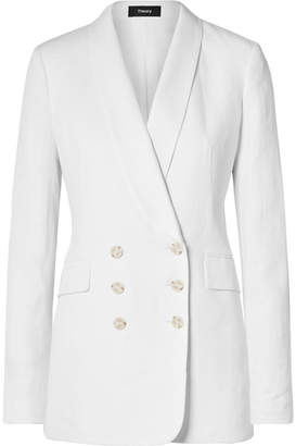 Theory Double-breasted Linen Blazer - White