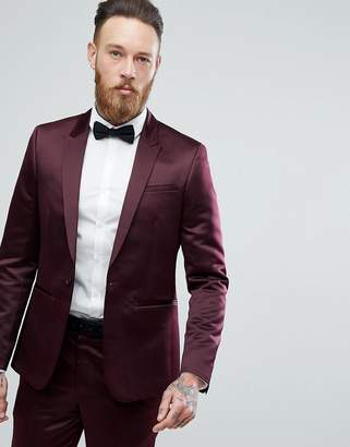 Asos Slim Tuxedo Suit Jacket In Burgundy Sateen