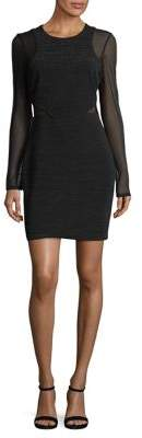 Guess Ribbed Mesh-Accented Long Sleeve Sheath Dress