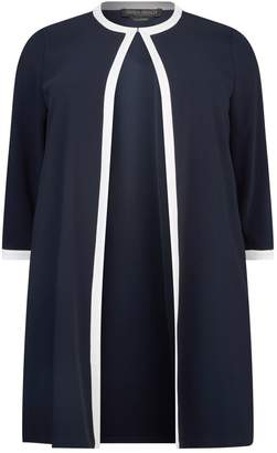 Marina Rinaldi Contrast Trim Collarless Coat