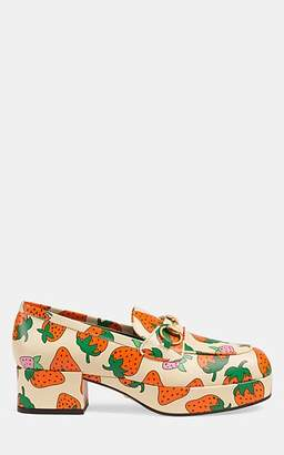 Gucci Women's Strawberry-Print Leather Platform Loafers