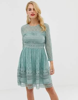 1755e553c108 Asos Design DESIGN Premium lace mini skater dress with long sleeves