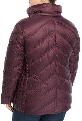 Herman Kay Short Hooded Zip-Front Packable Jacket, Plus Size
