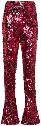 Halpern high waisted sequin flared trousers