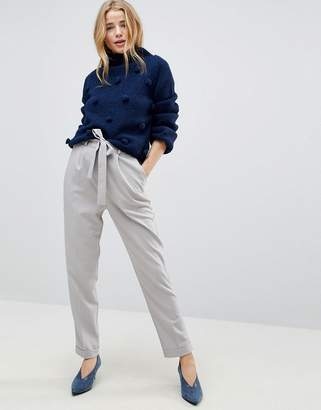 Asos Woven Peg Trousers With Obi Tie