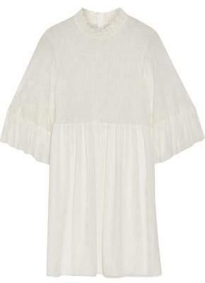 McQ Flocked Shirred Ruffled Tulle Mini Dress