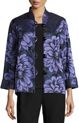 Caroline Rose Flower Show Boxy Jacket, Blue/Purple $495 thestylecure.com
