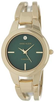 Anne Klein Women's Greem Round Case Gold-Tone Bangle Watch, 32.6mm