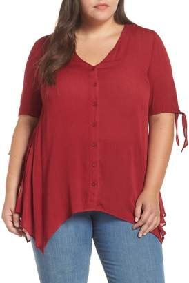 Glamorous Tie Sleeve Button Front Tunic Top (Plus Size)