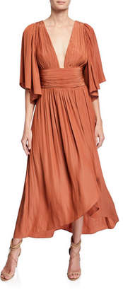 Ramy Brook Kinslie Shirred Plunging High-Low Long Dress