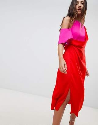 Asos Design Colour Block Satin Asymmetric Drape Pencil Midi Dress