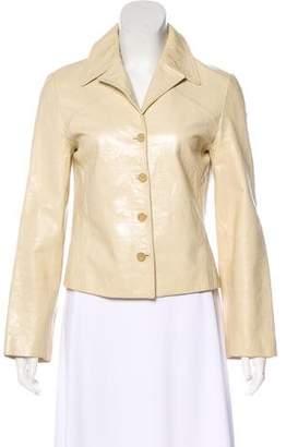 Alberta Ferretti Collared Leather Jacket