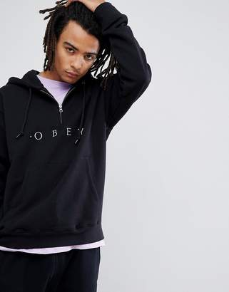 Obey 1/4 Zip Hoody With Logo In Black