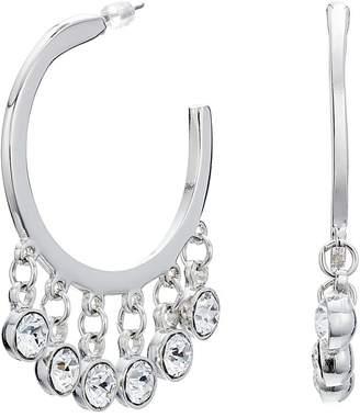 Kenneth Jay Lane Silver/Crystal Drops Pierced Hoop Earrings Earring