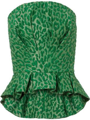Brandon Maxwell - Leopard-jacquard Bustier Top - Green