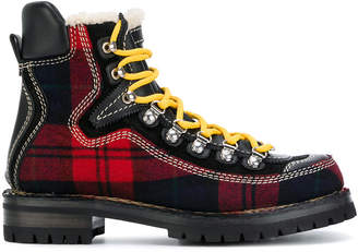 DSQUARED2 tartan mountain boots