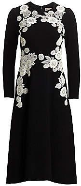 Lela Rose Women's Lace Appliqué Wool Crepe Dress