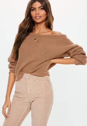 Missguided Brown Cropped Off Shoulder Knit Sweater