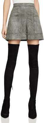 BCBGMAXAZRIA Faux-Suede Utility Mini Skirt