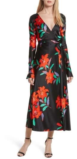 Floral Print Wrap Silk Dress