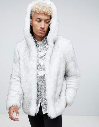 Asos DESIGN faux fur hooded bomber in white