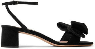 Miu Miu - Bow-embellished Satin Sandals - Black $590 thestylecure.com