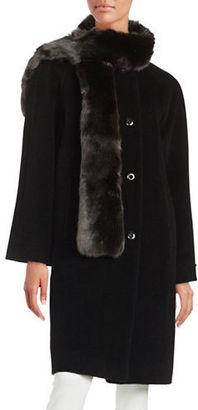 Jones New York Wool-Blend Walker Coat and Faux Fur Scarf Set $400 thestylecure.com