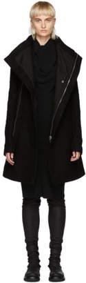 Rick Owens Black Wool Zipped Eileen Coat