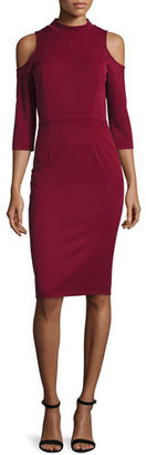 Black Halo Cold-Shoulder Ponte Sheath Dress, Mulberry $345 thestylecure.com