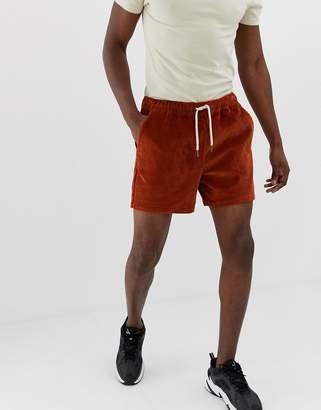 Asos Design DESIGN slim shorter shorts in rust cord