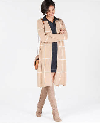 Charter Club Pure Cashmere Grid Completer Sweater, Created for Macy's