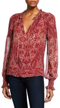 Ramy Brook Luanne Paisley-Print V-Neck Blouson-Sleeve Top