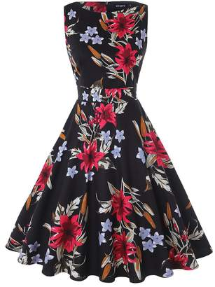 46a3f0a8519 OWIN Women Vintage 1950 s Floral Spring Rockabilly Swing Prom Party  Cocktail Dress