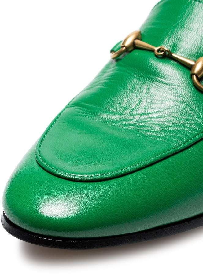 e2d2defe989 Gucci Green Jordaan leather loafers detail image