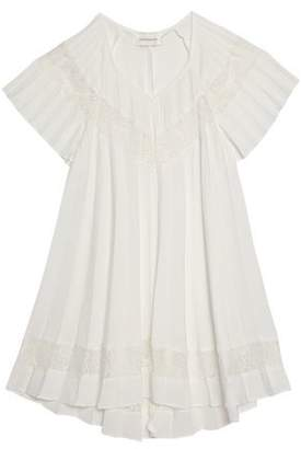 Zimmermann Corded Lace-Trimmed Pleated Crepe De Chine Blouse